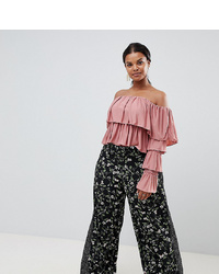 Missguided Plus Floral And Polka Dot Wide Leg Trousers