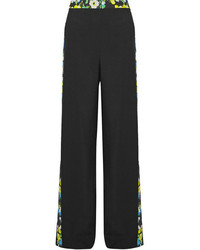 Floral print crepe wide leg pants black medium 3659962