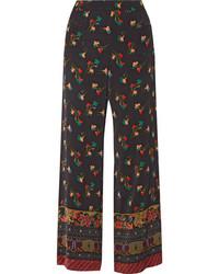 Etro Floral Print Crepe Wide Leg Pants Black
