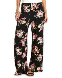 Charlotte Russe Floral Print High Waisted Palazzo Pants