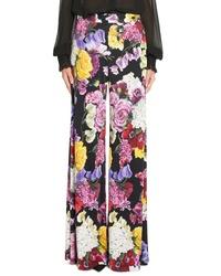 Dolce & Gabbana Floral Print Wide Leg Jersey Pants