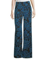 Floral print wide leg silk blend pants medium 5146691