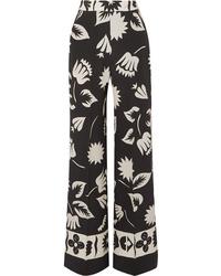 Etro Printed Silk Wide Leg Pants