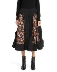 Comme des Garcons Floral Cutout Wool Gabardine Skirt