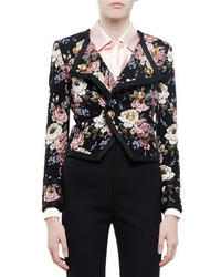 Saint Laurent Spencer Floral Print Jacket Beige Roseblack