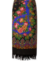 Vetements Scarf Wrap Effect Fringed Printed Wool Midi Skirt
