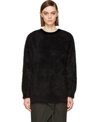 Black angora velvet zipped sweater medium 120606