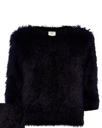 River Island Black Fluffy 34 Sleeve Sweater