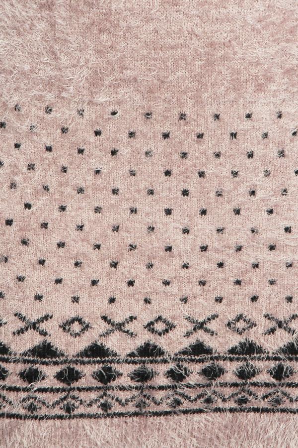 43399884ffb Boohoo Jasmyn Fluffy Knit Aztec Trim Tunic Jumper Dress