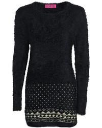 3dccba0aa4e ... Boohoo Jasmyn Fluffy Knit Aztec Trim Tunic Jumper Dress