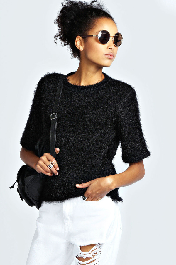 ... Crew-neck Sweaters Boohoo Willow Short Sleeve Fluffy Jumper ... eb38af9f4