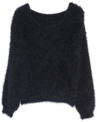 Fluffy scoop neck black jumper medium 120580