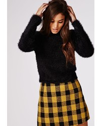 Missguided Deven Knitted Fluffy Long Sleeve Cropped Jumper Black