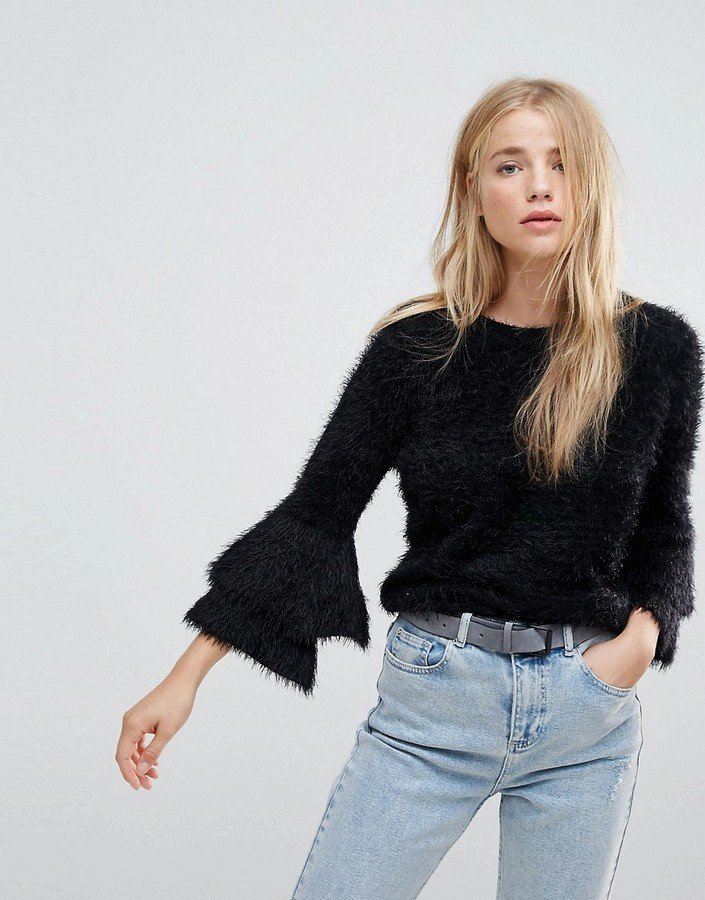 New Look Tiered Sleeve Knit Sweater
