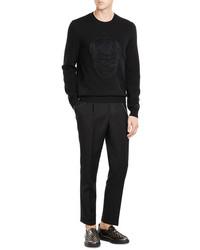 Alexander McQueen Wool Mohair Silk Pullover With Skull Motif