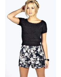 Boohoo carly crop fluffy bardot jumper medium 141457