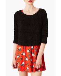 Topshop Monster Fluffy Crop Sweater Black 8