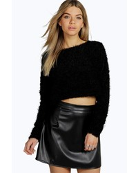 Boohoo Mila Fluffy Cropped Long Sleeve Jumper