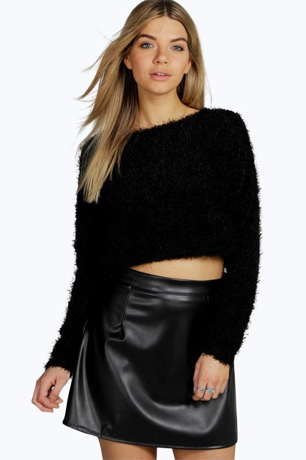 8db76e6babd ... Black Fluffy Cropped Tops Boohoo Mila Fluffy Cropped Long Sleeve Jumper  ...