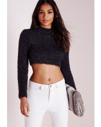 Missguided Fluffy Long Sleeve Cropped Sweater Black