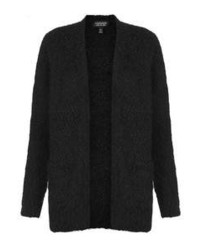 Topshop Black Fluffy Knitted Long Sleeve Cardigan 100% Cotton Machine Washable