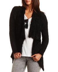 Charlotte Russe Fuzzy Popcorn Knit Cascade Cardigan Sweater