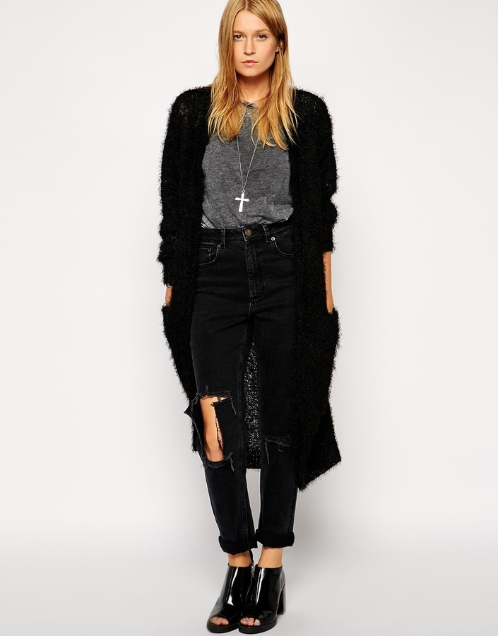 Asos Collection Longline Cardigan In Fluffy Yarn | Where to buy ...
