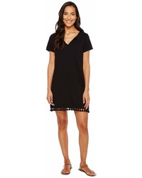 Michael Stars Michl Stars Notched Neck Tee Dress W Fringe Dress
