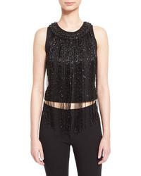Badgley Mischka Couture Beaded Fringe Sleeveless Crop Top Black