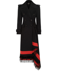 Alexander McQueen Asymmetric Fringed Wool Blend Double Breasted Coat