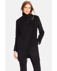 Lauren Ralph Lauren Fringe Trim Asymmetrical Wrap Coat