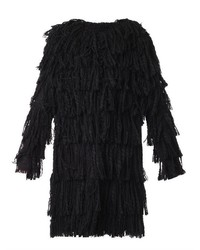 Lanvin Fringed Tweed Coat