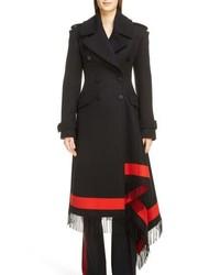 Alexander McQueen Scarf Hem Wool Cashmere Blend Coat