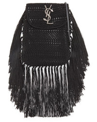 Saint Laurent Anita Fringe Crochet Leather Small Crossbody Bag Black