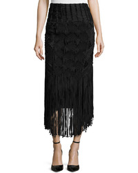 Crocheted fringe trimmed pencil skirt black medium 321922