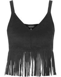 Black Fringe Cropped Top