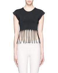 Beth Richards Fringe Hem Cap Sleeve Cropped T Shirt