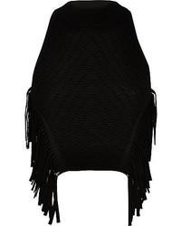 River Island Black Knitted Fringed Halter Neck Top