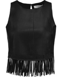 Elizabeth and James Brookline Cropped Fringed Leather Top