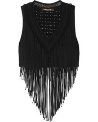 Cropped fringed jersey top black medium 515089