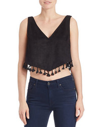 Design Lab Lord Taylor Tasseled Pom Pom Crop Top