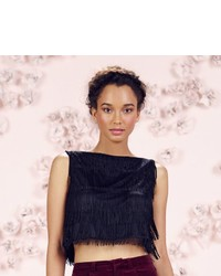 Lc Lauren Conrad Runway Collection Tiered Fringe Crop Top