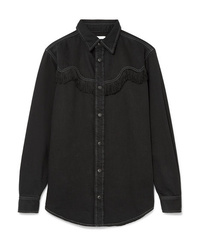 Ganni Kress Fringed Denim Shirt