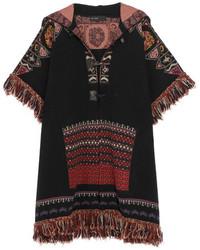 Etro Fringed Hooded Jacquard Knit Wool Blend Jacket Black