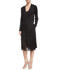 Roberto Cavalli Long Sleeve Jacket Wfringe Trim Black