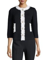 St. John Santana Knit Contrast Fringe Trim Jacket Blackwhite