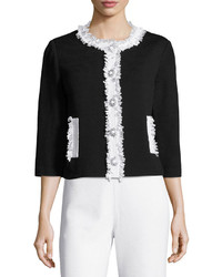St. John Santana Knit Crop Jacket W Fringe Trim Black