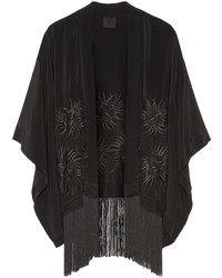 Anna Sui Fringed Embroidered Silk Kimono Jacket