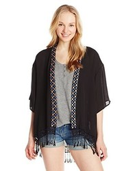 My Michelle Kimono With Floral Detail Along Neckline And Fringe Detail