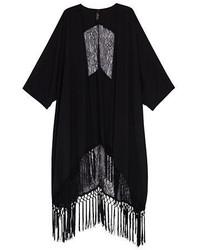 Melissa McCarthy Seven7 Plus Solid Fringe Kimono